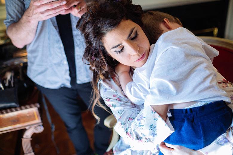 Previa de la novia con su hijo