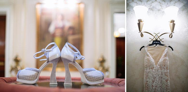 Detalles de los zapatos y vestido de novia