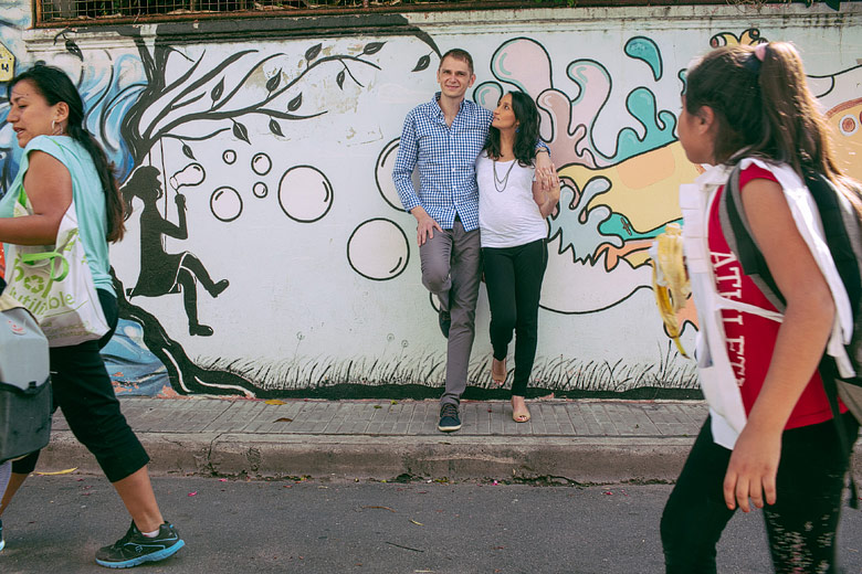 Sesion de fotos de embarazo en la calle