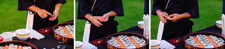 catering de sushi por EAT en casamiento